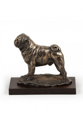 Art-Dog Pug on Wood base