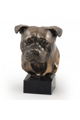 Art-Dog Staffordshire Bull Terrier Head Figurine made of resin on marble base