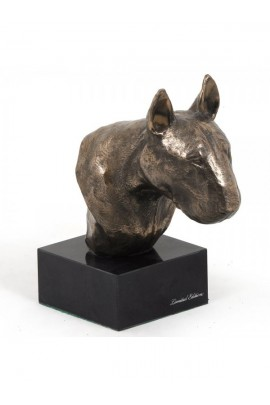 Art-Dog Bull Terrier  Head Figurine made of resin on marble base