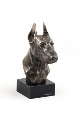 Art-Dog Doberman pincher Head Figurine made of resin on marble base