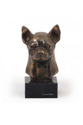 Art-Dog Chihuahua Smooth Coat  Head Figurine made of resin on marble base