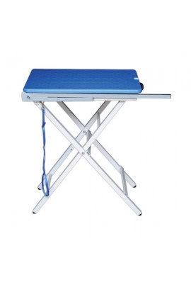 LIGHT PORTABLE FOLDING GROOMING TABLE 60x45cm BLUE PLASTIC TOP + ARM